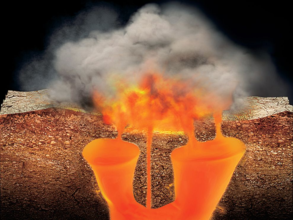An illustration of Yellowstone erupting.